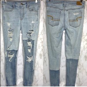 AE Hi-Rise Jegging distressed patchwork jeans 8